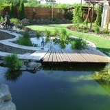 Kis kert tóval boros pincével kertépítés